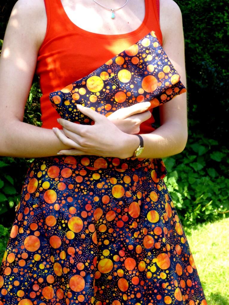 Blue and Orange spot batik skirt and matching bag