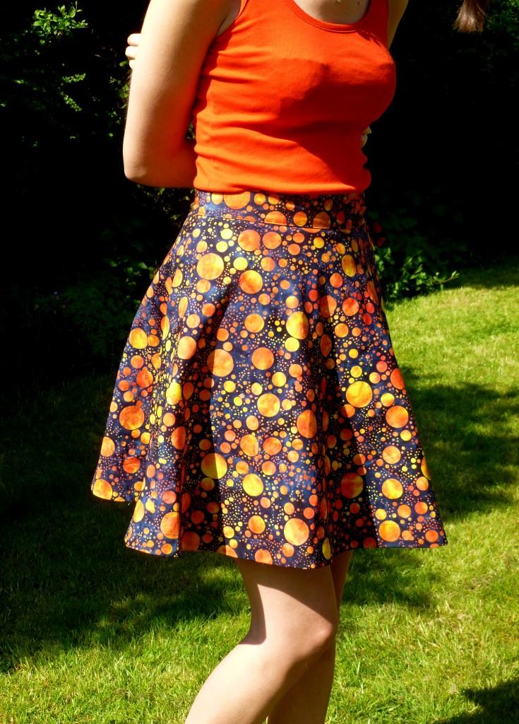 Blue and Orange batik spot wrap-around skirt