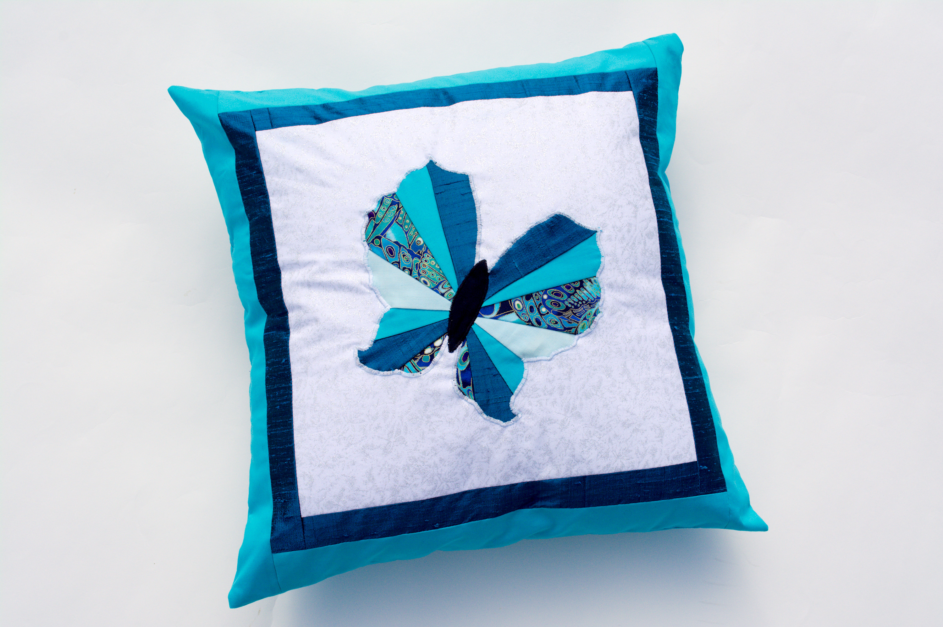 Turquoise Applique Butterfly cushion